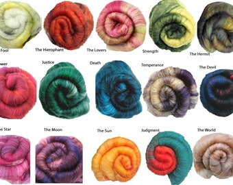 Tarot Series Batts: Carded Fiber for Spinning, Felting, Textile Art in 22 Colorways Inspired by the Tarot