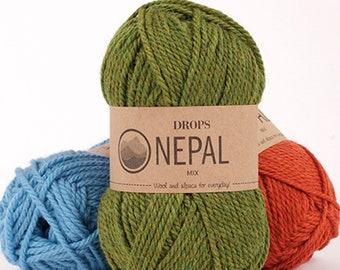 4- or 5-Packs Garnstudio Drops Nepal - Alpaca/Wool  Aran-Weight Yarn, Mix or Match Colors