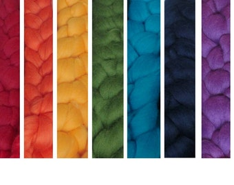 Rainbow Merino Top Collection: Spin Your Own Rainbow or Self-Striping Yarn!