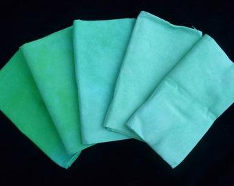 Fat Quarter Bundle 5 pcs.  Bright Green