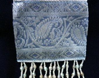 Tiny Purse, Blue/Silver Paisley Tapestry
