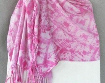 Shawl, Fuchsia-Pink, Hand Dyed Shibori