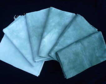 Fat Quarter bundle, 6 hand dyed, dark green