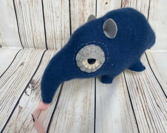 Soft Sculpture Anteater Pillow Handmade from Reclaimed Upcycled Textiles- Blue Cashmere