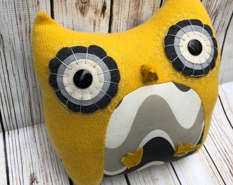 Soft Sculpture Owl Pillow Handmade from Reclaimed Upcycled Textiles