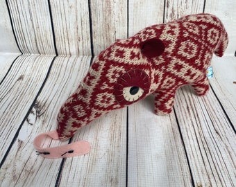 Soft Sculpture Anteater Pillow Handmade from Reclaimed Upcycled Textiles- Red and White