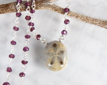 Fossil Sea Urchin Necklace - with Rhodolite Garnets in Solid Sterling Silver