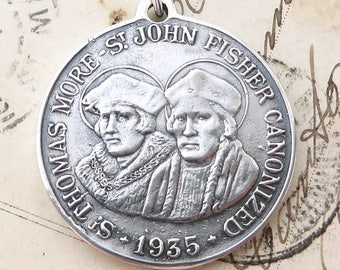 St Thomas More / St John Fisher Medal - Patrons of Lawyers - Sterling Silver Antique Replica