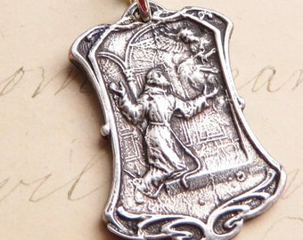 St Francis of Assisi Medal - Patron of animals & ecology - Sterling Silver Antique Replica