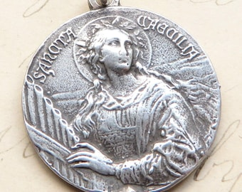 St Cecilia Medal - Patron of girls and musicians - Sterling Silver Antique Replica