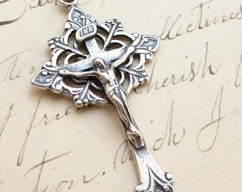 Trefoil Crucifix - Sterling Silver Antique Replica