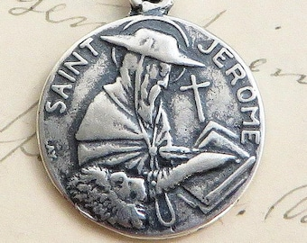 St Jerome Medal - Patron of librarians, translators and students - Sterling Silver Antique Replica