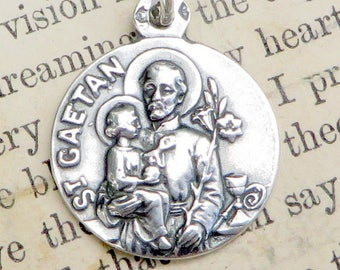 St Cajetan Medal - Patron of unemployed people & gamblers - Sterling Silver Antique Replica