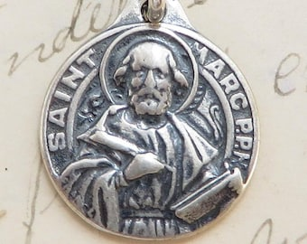 St Mark Medal - Patron of lawyers and notaries - Sterling Silver Antique Replica