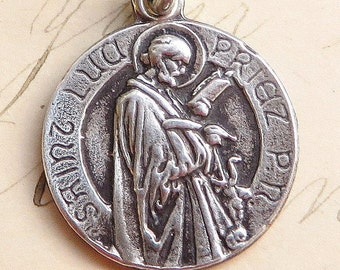 St Luke medal - Sterling Silver Antique Replica - Patron of artists & doctors