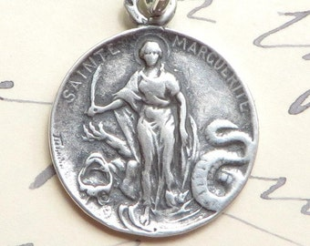 St Margaret Medal - Patron of pregnant women and nurses- Sterling Silver Antique Replica