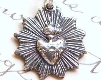 Radiant Sacred Heart of Jesus Medal - Sterling Silver Antique Replica