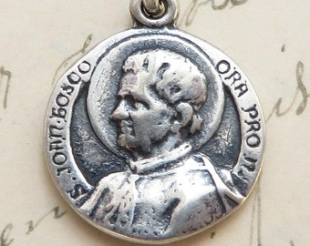 St John Bosco Medal - Patron of Boys and Difficult Children - Sterling Silver Antique Replica