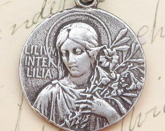 Lily Among Lilies Virgin Mary Medal - Sterling Silver Antique Replica