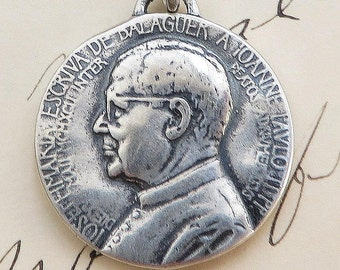 St Josemaria Escriva Medal - Patron of diabetics - Sterling Silver Antique Replica