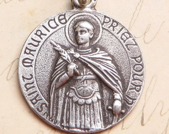 St Maurice Medal - Patron of soldiers - Sterling Silver Antique Replica
