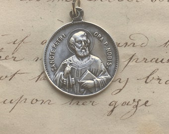 19d7fd6a0ee St Peter / Our Lady of Good Counsel Medal - Patron of papacy, fishermen,  butchers - Sterling Silver Antique Replica