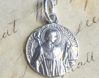 St Charles Borromeo Medal - Sterling Silver Antique Replica - Patron of catechists, seminarians and against intestinal disorders
