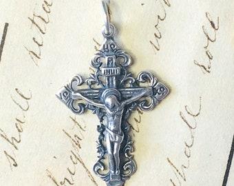 Russian Small Crucifix - Sterling Silver Antique Replica