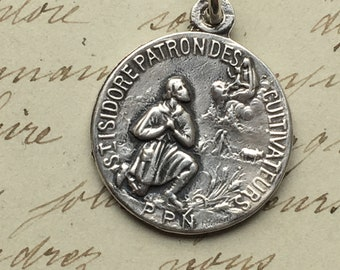 St Isidore The Farmer Medal - Sterling Silver Antique Replica - Patron of farmers, day laborers, agriculture, brick layers