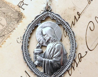 Jesus With the Eucharist Medal - Sterling Silver Antique Replica