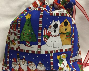 Christmas Fabric Gift Bag  Eco Friendly Bag  Drawstring Reuseable wrap --size 10 inches x 9 inches Santa and Puppies