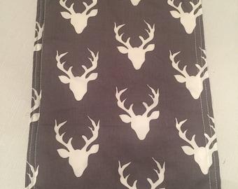Burp Rag Boutique Burp Cloth.... Oh Deer gray and Minky fabric