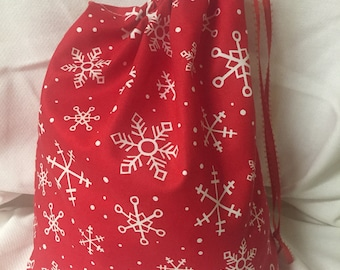 Christmas Fabric Gift Bag  Eco Friendly Bag  Drawstring Reuseable wrap --size 10.5 inches x 10.5 inches red and white snowflakes