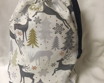 Christmas Fabric Gift Bag  Eco Friendly Bag  Drawstring Reuseable wrap --size 10 inches x 11 inches Reindeer Noel fabric
