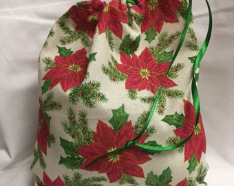 Christmas Fabric Gift Bag  Eco Friendly Bag  Drawstring Reuseable wrap --size 9.5 inches x 10 inches poinsetta fabric