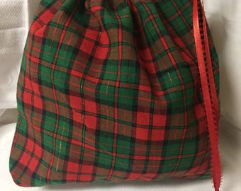 Christmas Fabric Gift Bag  Eco Friendly Bag  Drawstring Reuseable wrap --size 10.5 inches x 10 inches red and green plaid