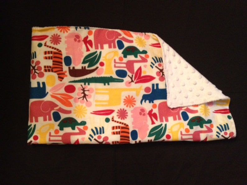 Blanket Stoller Blanket Security Minky Blanket...2-d Zoo Primary  with Minky Dot