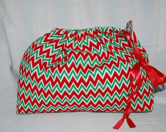 Christmas Fabric Gift Bag  Eco Friendly Bag  Drawstring Reuseable wrap --size 11.5 inches x 7.5 inches Red and Green Chevron