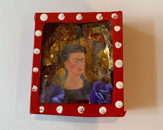 FRIDA Mexican Hand-Made Folk Art Nicho with Glass Small Shadow Box