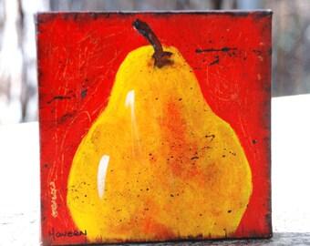 Pear original painting 6x6