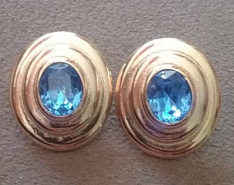 Vintage Earrings, Vintage Earrings Royal Blue Oval Earrings, Gold Tone and Blue Crystal Earrings