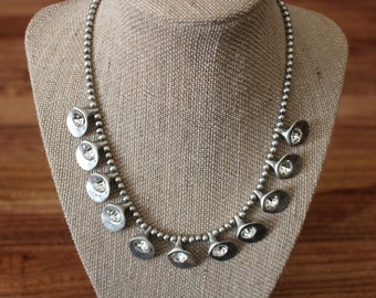 Silver Beaded Rhinestone Necklace, Silver Plated Necklace, Dangle Necklace, Silver Tone Fashion Necklace