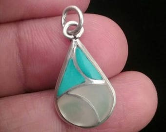 Pendant, Sterling Silver Pendant, Turquoise and Mother of Pearl Pendant