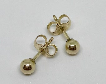 8070e978e Vintage 14K G. F. Ball Earrings, Gold Ball Earrings, Vintage Stud Earrings, Vintage  Jewelry, 4mm Gold Stud Earrings