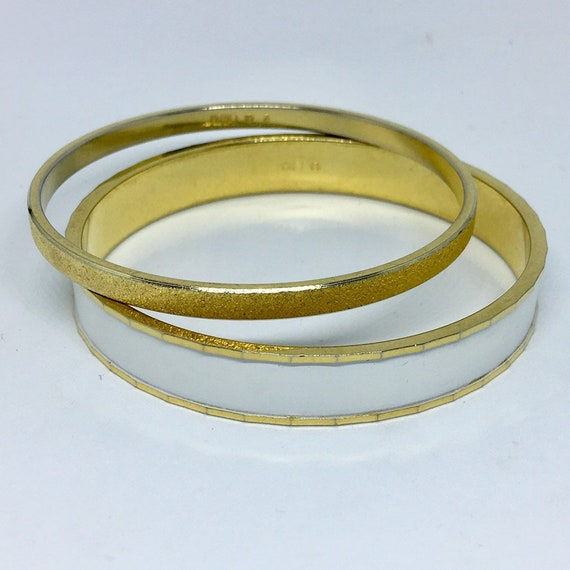 4967384a44881 Monet Bangle Bracelets, Set of 2 Monet Bracelets, Monet White and Gold Tone  Bangle Bracelets, Vintage Jewelry, Vintage Bracelets