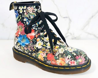 d773d9903df Vintage 1990s Dr Martens UK 4 US 6 Floral Made in England RARE 1460 Pascal  Yellow Stitch Air Wair Soles Sienna Miller