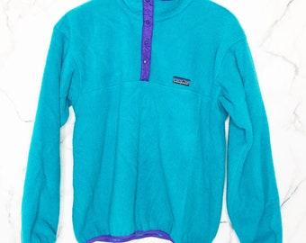 e401cb9bbb1 Vintage Patagonia Fleece Pullover Aqua Blue Purple Trim Snaps Snap Buttons  12 Large