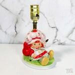 Vintage 1980s Strawberry Shortcake Table Lamp Ceramic No Shade Light Decor Bedside