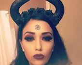 Maleficent inspired, Disney bounder, Black horns, Horns, Horn headdress, Rose crown , Flower crown, Halloween, Black flowers, MsFormaldehyde