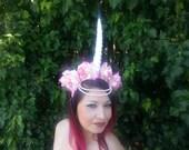 Unicorn, Unicorn horn, Unicorn horn headband, Mythical creature, Burning man, Coachella, EDM, Flower crown, Rose Crown, Pink,Pink rose crown
